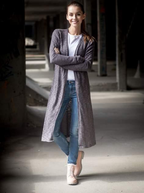 Czarny melanżowy sweter typu długi kardigan                                  zdj.                                  10