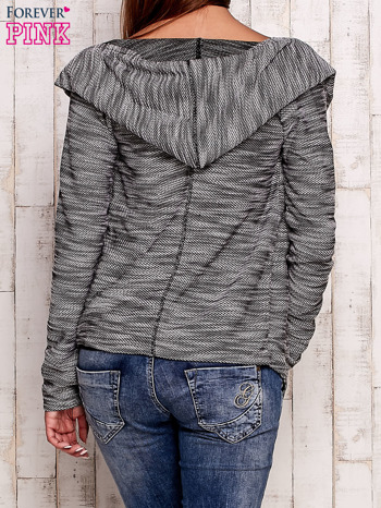 Czarny melanżowy sweter z kapturem                                  zdj.                                  4