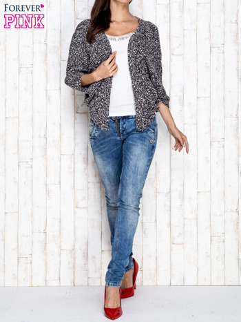 Czarny melanżowy sweter z rękawem typu nietoperz                                  zdj.                                  2