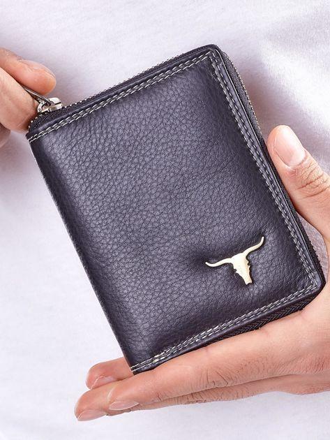 Czarny męski portfel skórzany na suwak                              zdj.                              1