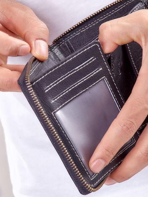 Czarny męski portfel skórzany na suwak                              zdj.                              4