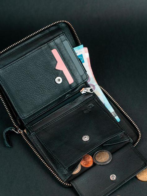 Czarny męski portfel ze skóry na suwak                              zdj.                              10