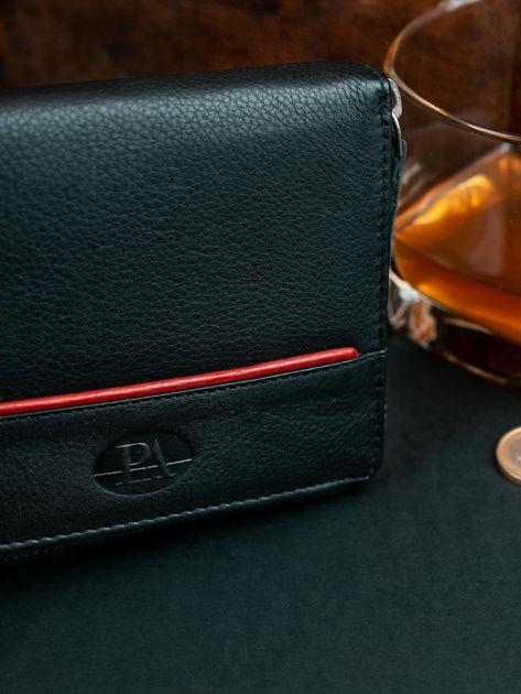 Czarny męski portfel ze skóry na suwak                              zdj.                              6
