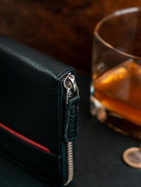 Czarny męski portfel ze skóry na suwak                              zdj.                              7