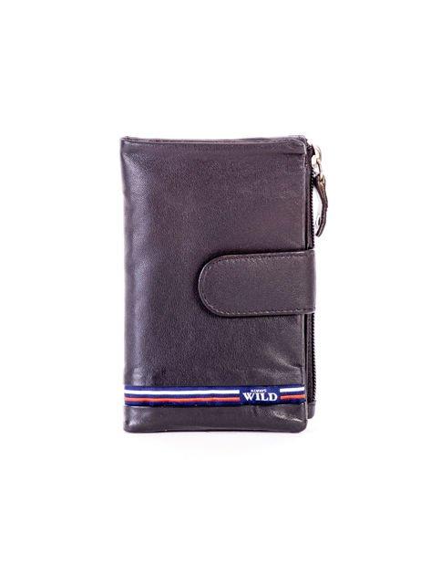 Czarny miękki portfel ze skóry naturalnej z kieszenią na suwak                              zdj.                              1