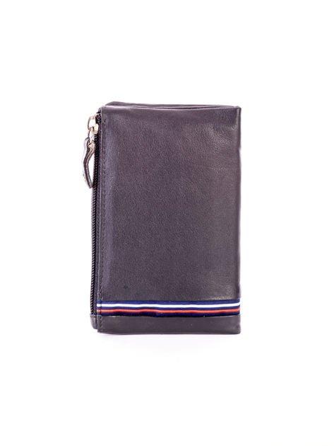 Czarny miękki portfel ze skóry naturalnej z kieszenią na suwak                              zdj.                              2