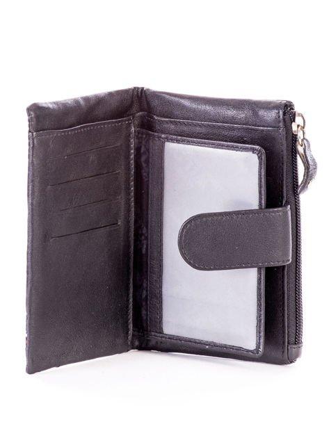 Czarny miękki portfel ze skóry naturalnej z kieszenią na suwak                              zdj.                              4