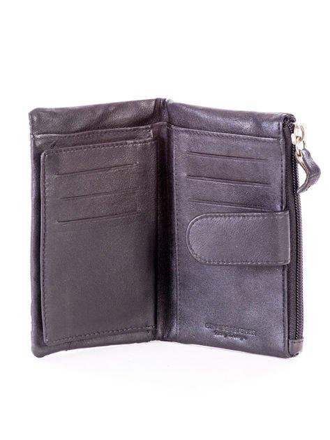 Czarny miękki portfel ze skóry naturalnej z kieszenią na suwak                              zdj.                              5