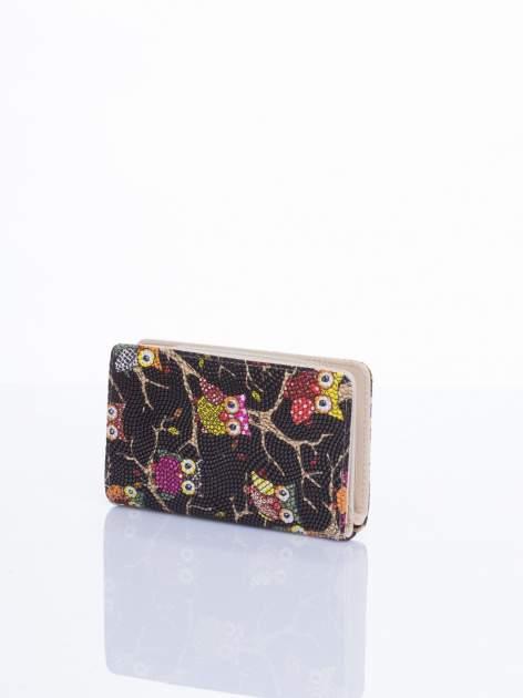 Czarny mini portfel w sówki                                  zdj.                                  3