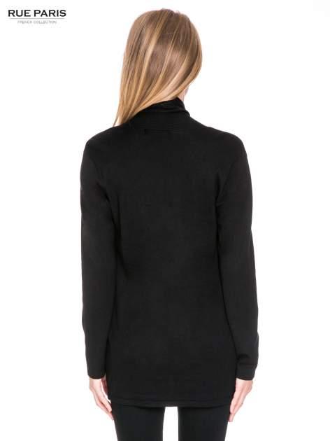 Czarny otwarty sweter kardigan z prążkowanym kołnierzem                                  zdj.                                  4