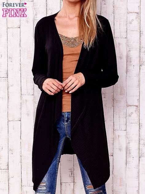 Czarny otwarty sweter w drobne prążki                                  zdj.                                  1