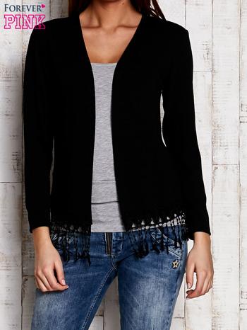 Czarny otwarty sweter z frędzelkami                                  zdj.                                  1
