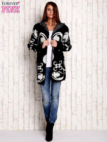 Czarny otwarty sweter z kapturem                                  zdj.                                  4