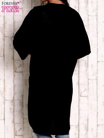 Czarny otwarty sweter z kieszeniami                                  zdj.                                  4