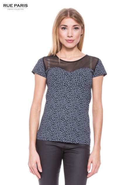 Czarny panterkowy t-shirt z transparentnym karczkiem                                  zdj.                                  1