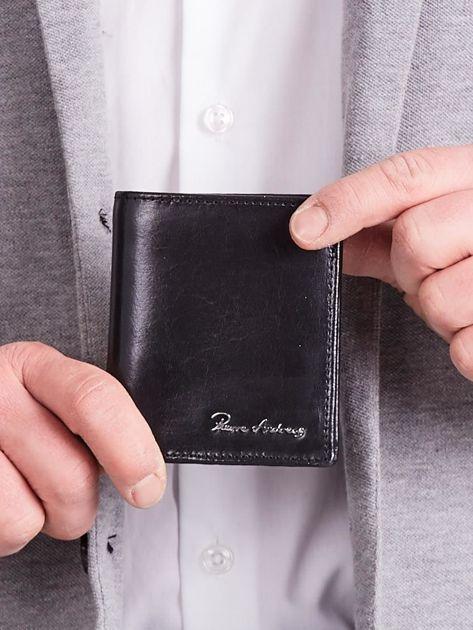 Czarny pionowy elegancki skórzany portfel                               zdj.                              1