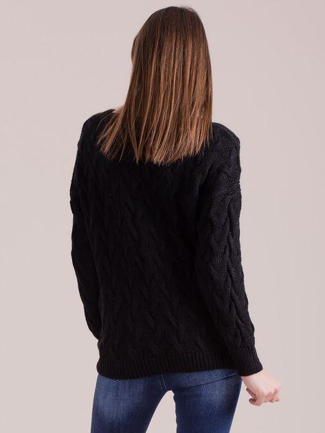 Czarny pleciony sweter                               zdj.                              2