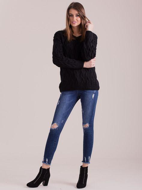 Czarny pleciony sweter                               zdj.                              4