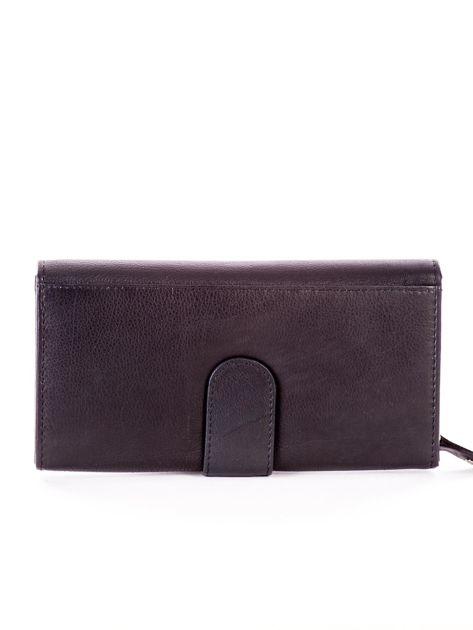 Czarny podłużny skórzany portfel z klapką                              zdj.                              2
