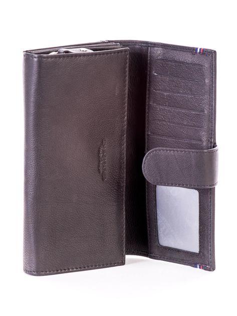 Czarny podłużny skórzany portfel z klapką                              zdj.                              4