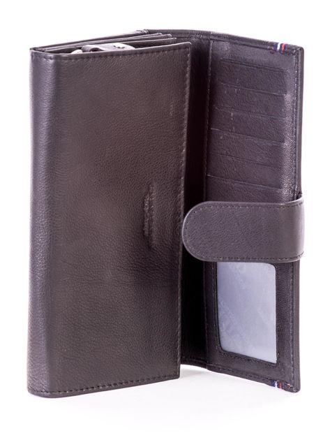 Czarny podłużny skórzany portfel z klapką                              zdj.                              7