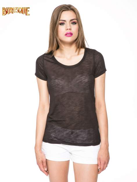 Czarny półtransparentny t-shirt                                  zdj.                                  11