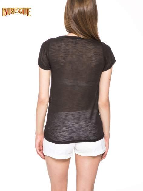 Czarny półtransparentny t-shirt                                  zdj.                                  4