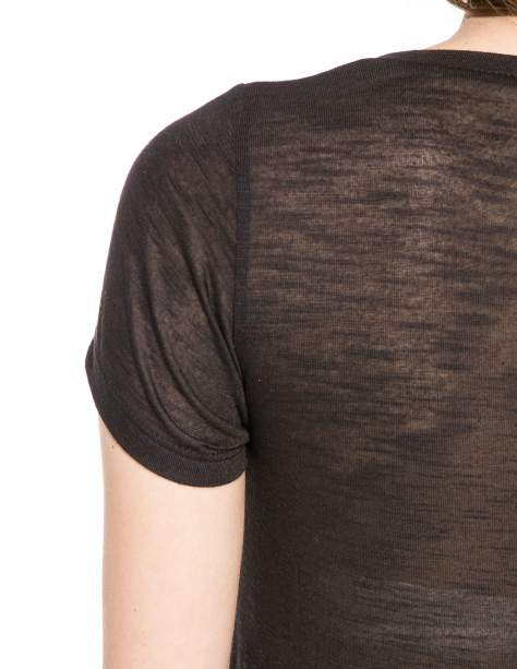 Czarny półtransparentny t-shirt                                  zdj.                                  9