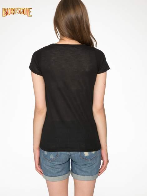 Czarny półtransparentny t-shirt basic                                  zdj.                                  4