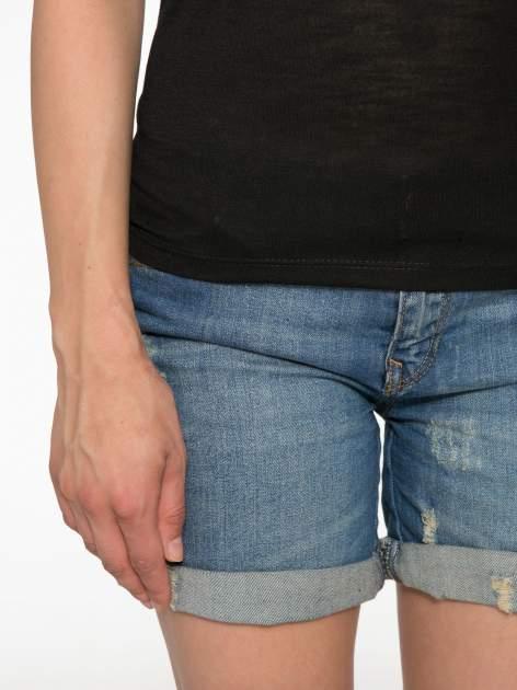 Czarny półtransparentny t-shirt basic                                  zdj.                                  6