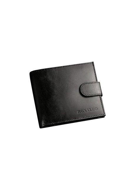Czarny portfel dla mężczyzny ze skóry naturalnej poziomy                              zdj.                              2