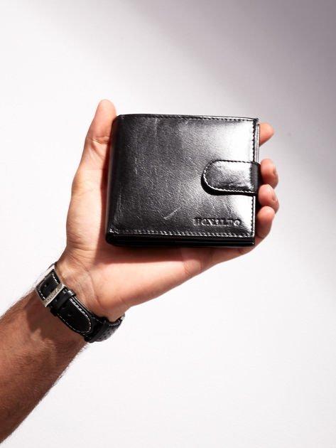 Czarny portfel dla mężczyzny ze skóry naturalnej poziomy                              zdj.                              1