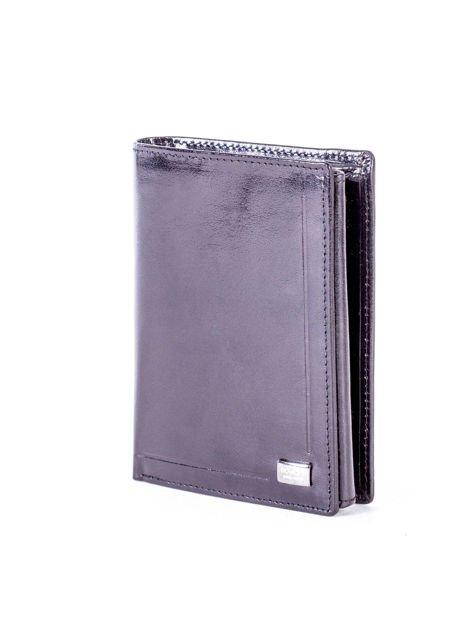 Czarny portfel męski skórzany z tłoczeniem                              zdj.                              2