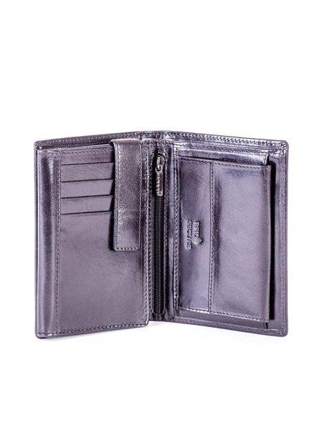 Czarny portfel męski skórzany z tłoczeniem                              zdj.                              3