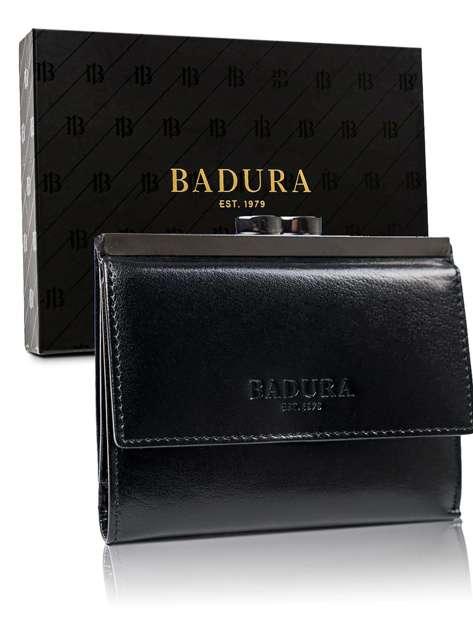 Czarny portfel męski ze skóry BADURA