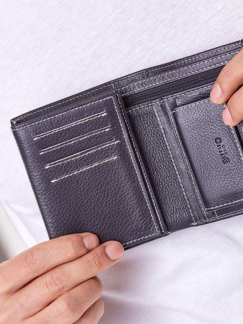 Czarny portfel męski ze skóry naturalnej                              zdj.                              3