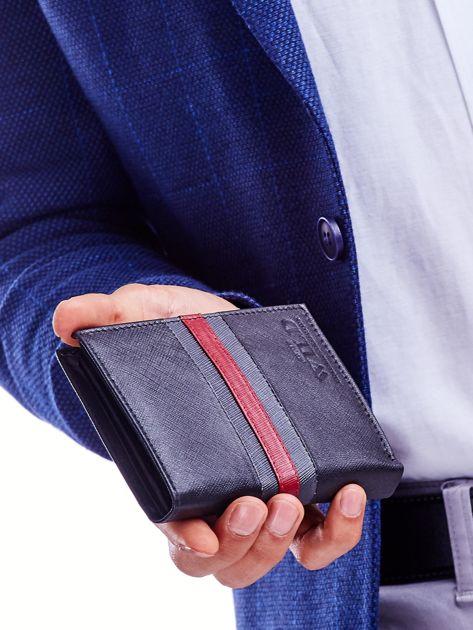 Czarny portfel skórzany z czerwoną wstawką                              zdj.                              1