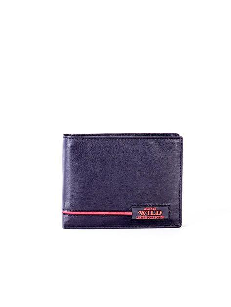 Czarny portfel skórzany z czerwonymi wstawkami                              zdj.                              1