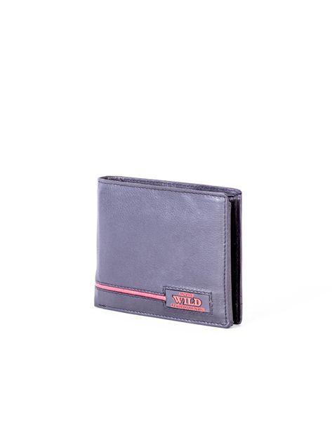 Czarny portfel skórzany z czerwonymi wstawkami                              zdj.                              3