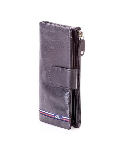 Czarny portfel skórzany z kieszenią na suwak                              zdj.                              3