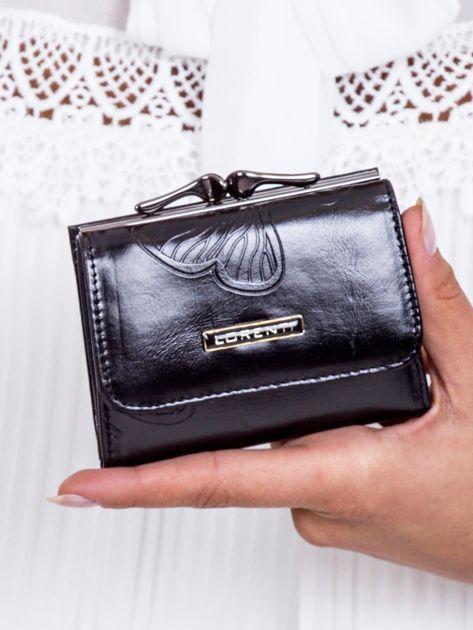 Czarny portfel w tłoczone motyle                               zdj.                              1