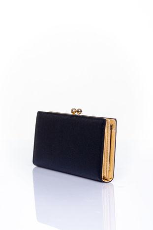 Czarny portfel z biglem efekt saffiano                                   zdj.                                  2