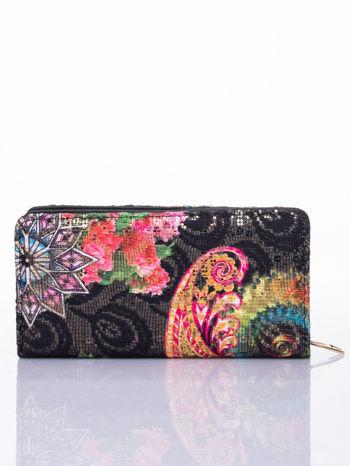 Czarny portfel z nadrukiem paisley                                  zdj.                                  2
