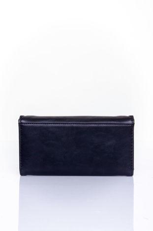 Czarny portfel z ozdobnym detalem i złotymi okuciami                                  zdj.                                  2