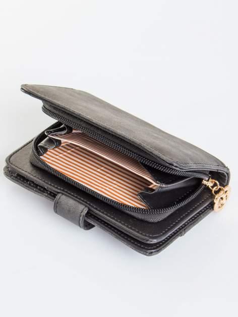 Czarny portfel z plecionką                                  zdj.                                  4