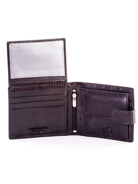 Czarny portfel ze skóry naturalnej na zatrzask                              zdj.                              5
