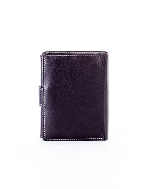 Czarny portfel ze skóry naturalnej z emblematem                              zdj.                              2