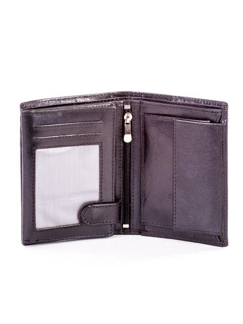 Czarny portfel ze skóry naturalnej z napisem                              zdj.                              4