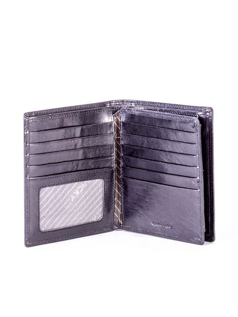 Czarny portfel ze skóry naturalnej z tłoczeniem                              zdj.                              4