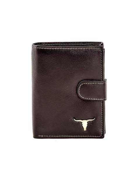 Czarny portfel ze skóry naturalnej zapinany na zatrzask                              zdj.                              1